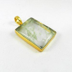 Aqua Crackle Glass 46mm 18k Gold Plated Bezel Pendant