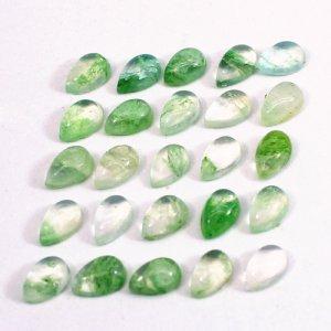 Aqua Crackle Glass 5x3mm Pear Cabochon 0.25 Cts