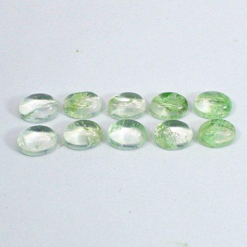 Aqua Crackle Glass 7x5mm Oval Cabochon 0.80 Cts