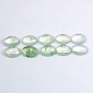 Aqua Crackle Glass 7x5mm Oval Rose Cut 0.64 Cts