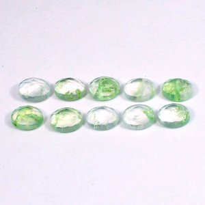 Aqua Crackle Glass 8x6mm Oval Rose Cut 1.10 Cts