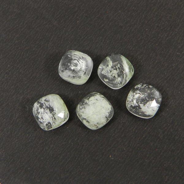 Aqua Crackle Glass 8x8mm Cushion Rose Cut 2.45 Cts