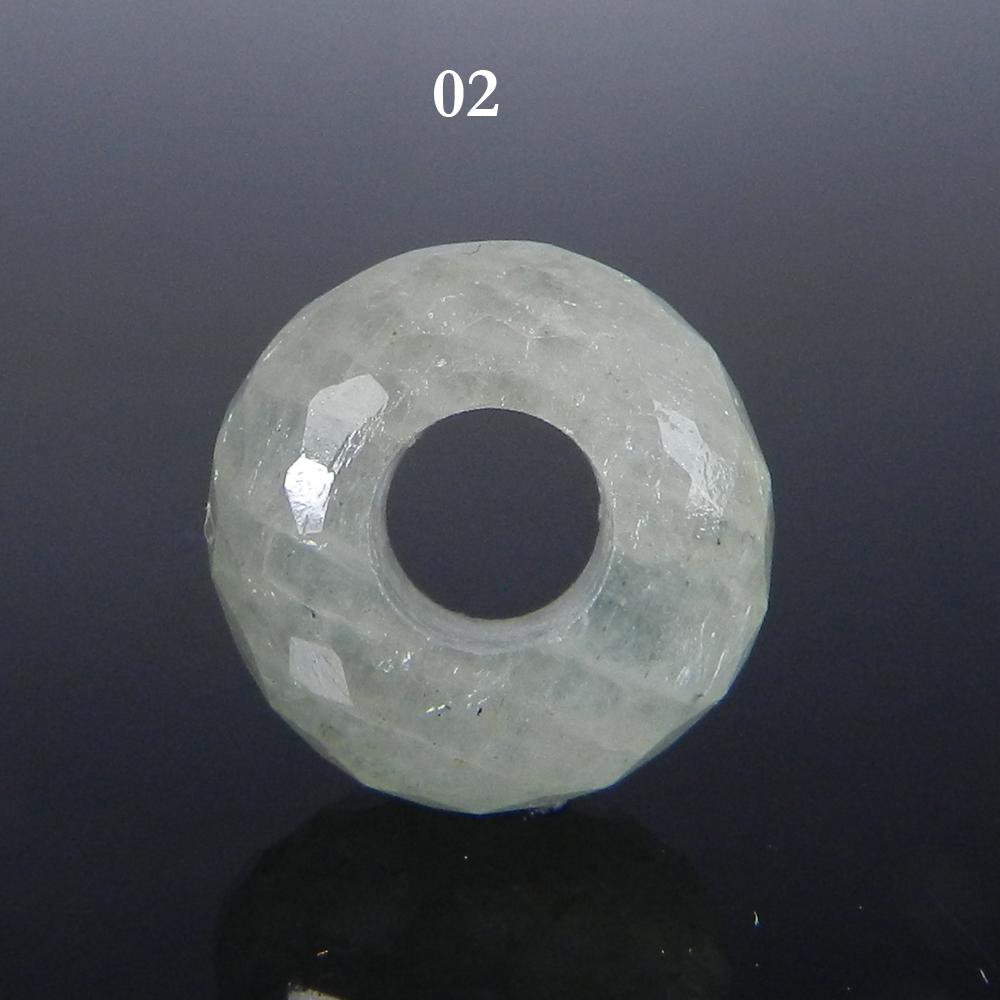 Aqua Crackle Glass Big Hole Roundel Faceted Beads 14x8x5.5mm