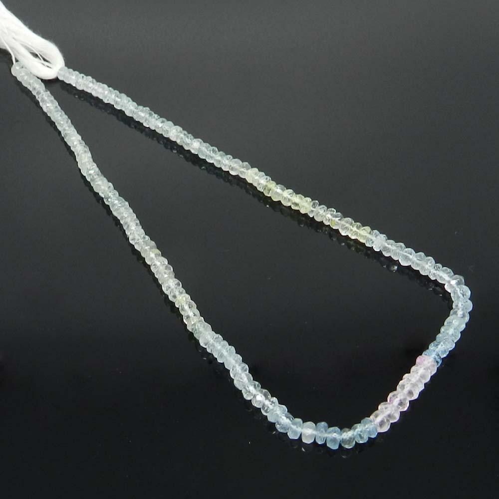 Aquamarine 4.5mm Roundel Facet 14 inch Beads