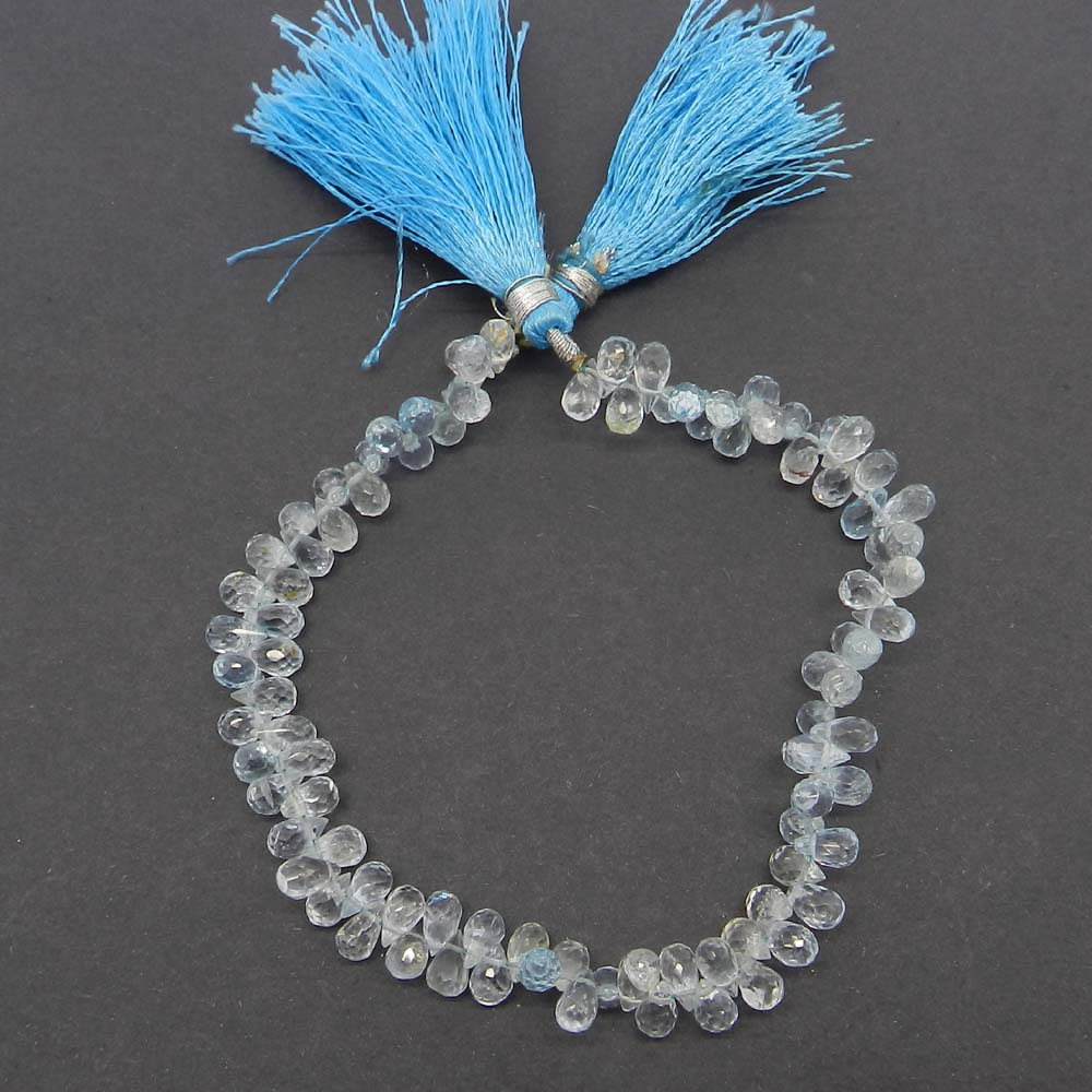 Aquamarine Drops 6x4mm 9 inch 107.85 cts Strand Beads