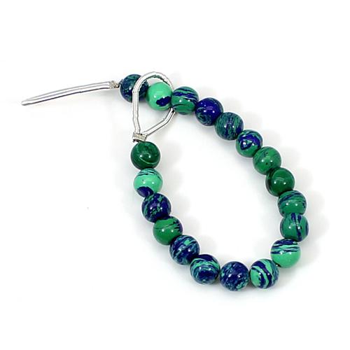 Azurite Malachite 3.10 Inch Round Cabochon 5mm 13.45 Cts Beads Strand