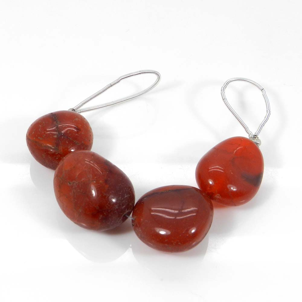 Beads Seller !!  4 Pcs Carnelian  Tumble Smooth Plain Beads 18mm 3.2 Inch 102.40 Cts