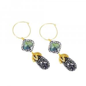 Beautiful Cut Stones Gold Plated Handmade Wholesale Earring