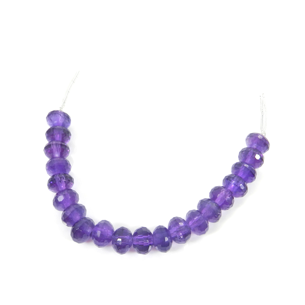 Best Deal ! 20 Pcs African Amethyst Roundel Faceted Beads 7mm  3.12 inch  32.10 Cts