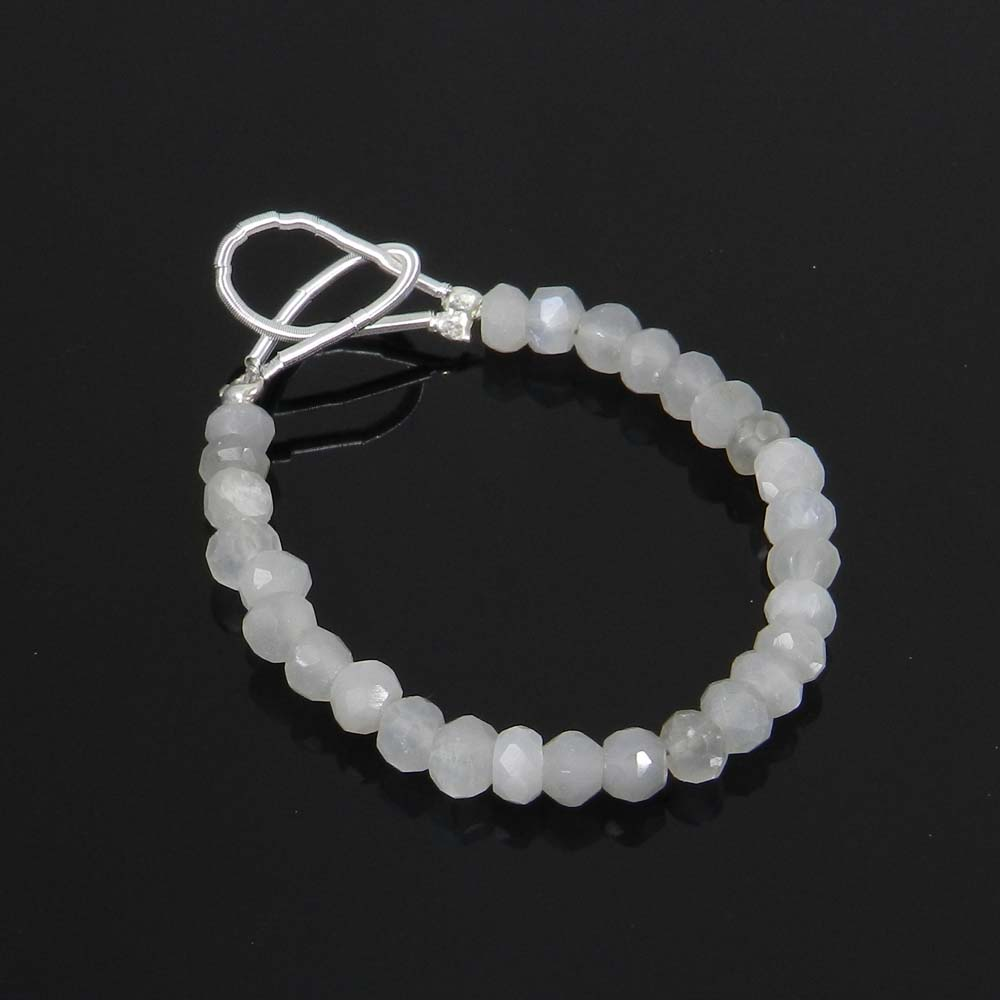 Best Deal ! Grey Moonstone Roundel Faceted Beads 4mm 3.5 inch 10.95 Cts