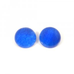 Best Deal Offer ! 1 Pair Blue Jade 14mm Round Cabochon 18.75 Cts