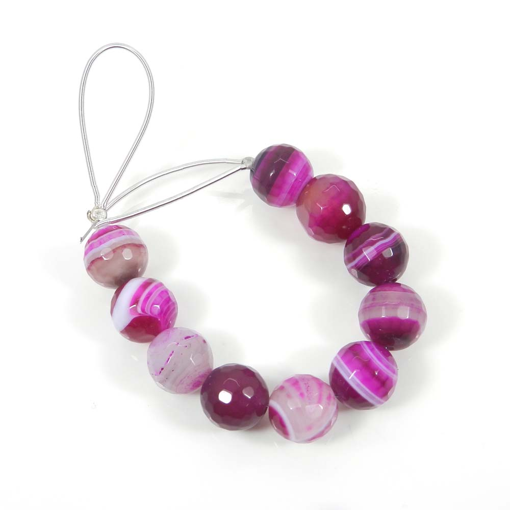 Best Deal Offer ! 10 Pcs Purple Banded Agate Roundel Faceted Beads 10mm 4.11 inch 75.65 cts