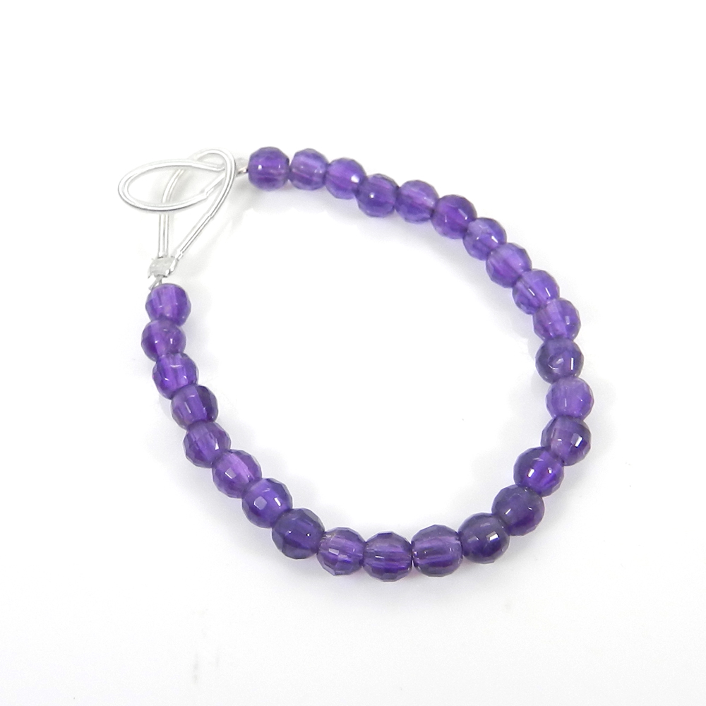 Best Deal Offer ! 27 Pcs African Amethyst Roundel Faceted Beads 4mm 3.13 inch 12.10 Cts