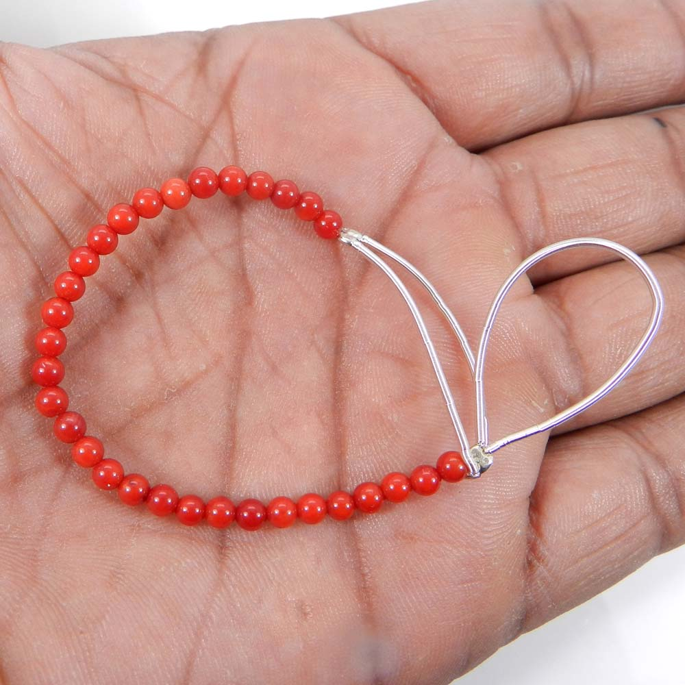 Best Deal Offer ! 31 Pcs Synthetic Coral Roundel Smooth Plain Beads 3mm 4 Inch 10.15 Cts