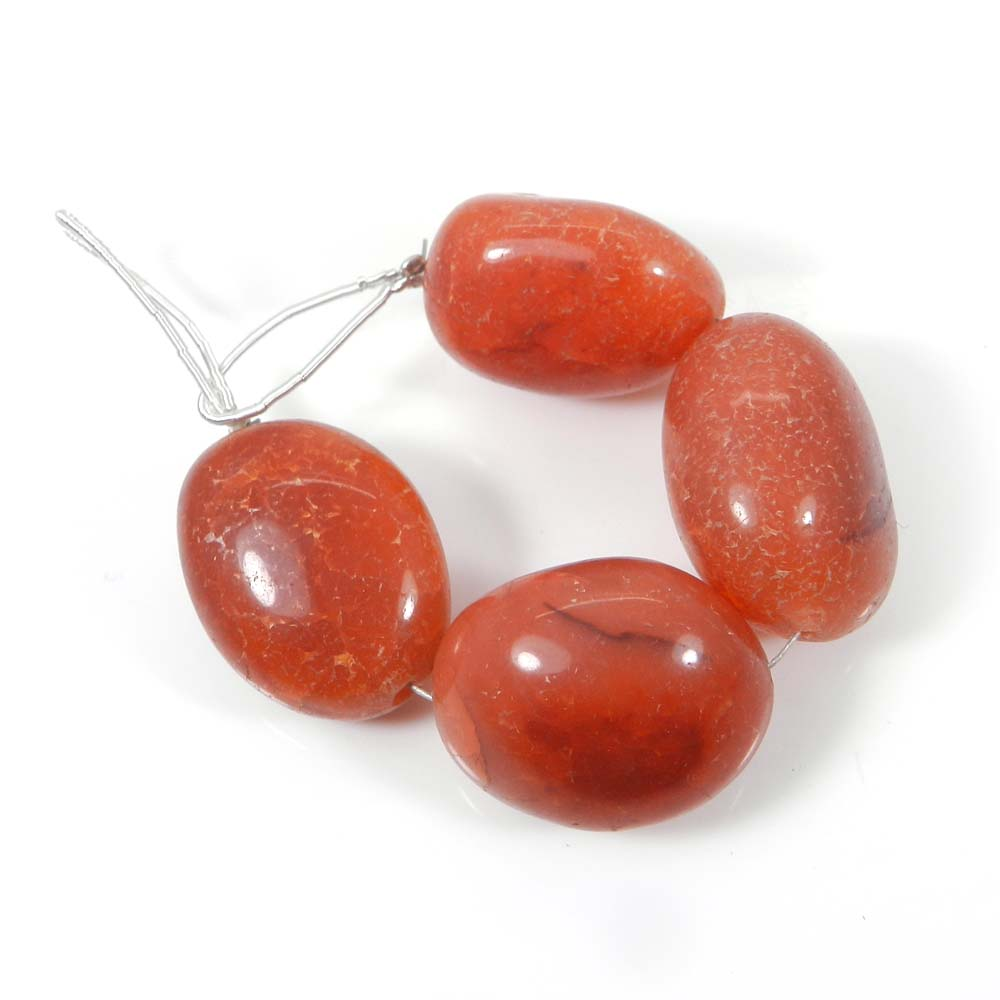 Best Deal Offer ! 4 Pcs Carnelian Tumble Beads 20 mm 4.3 inch 74 cts