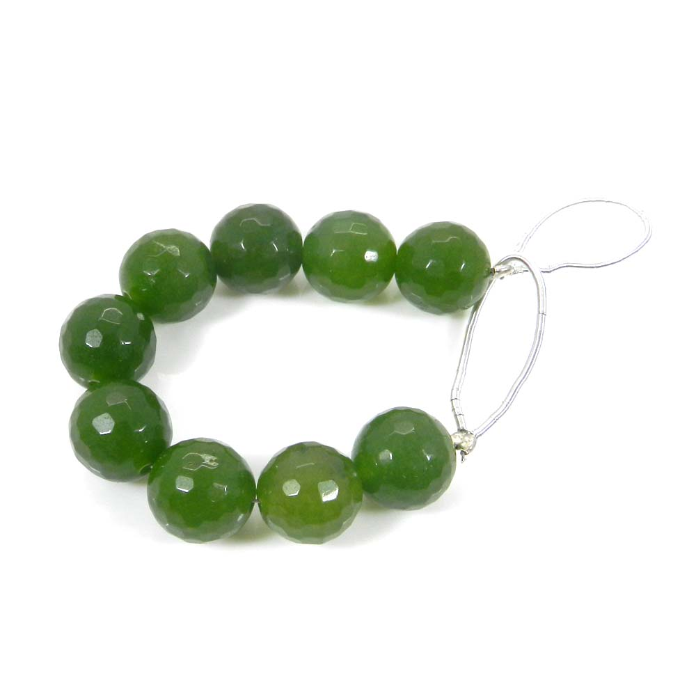 Best Deal Offer ! 9 Pcs Green Jade Roundel Faceted Beads 9.5mm 3.8 Inch 63.60 Cts