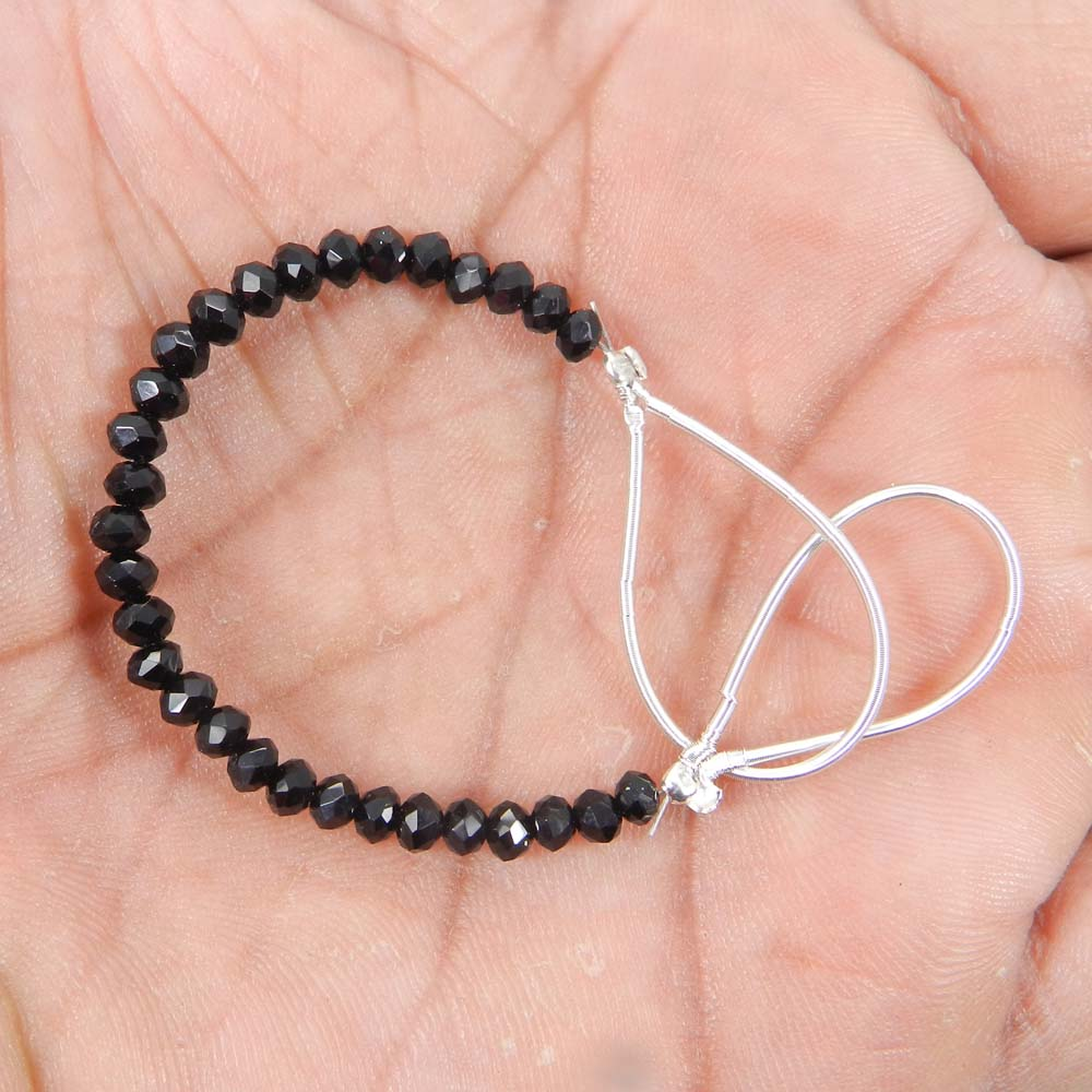 Best Deal Offer ! Black Spinel Roundel Faceted Beads 3mm 3.1 Inch 7.40 Cts