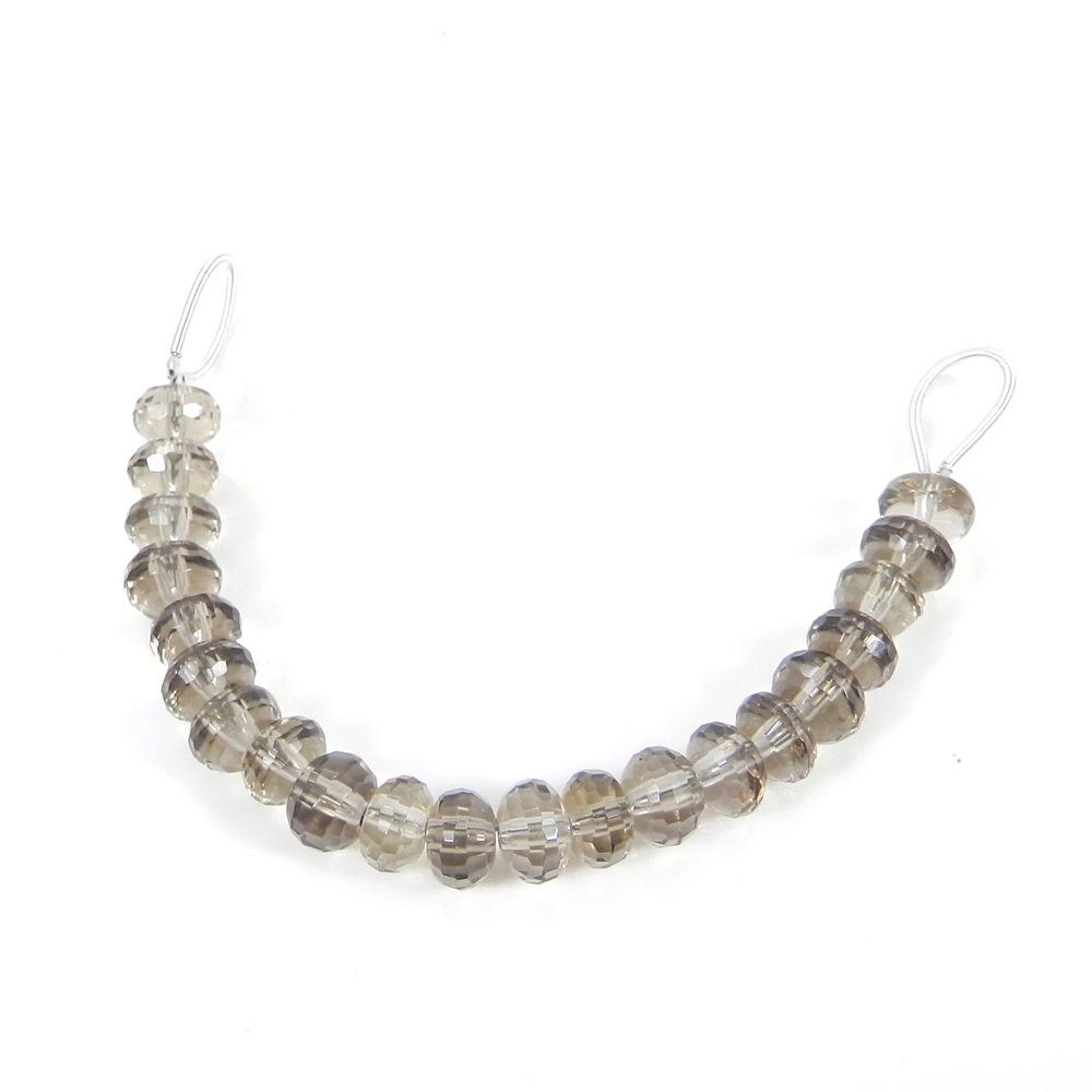 Best Deal Offer ! Smoky Quartz Roundel Faceted Beads 7mm 3.12 inch 32.75 cts