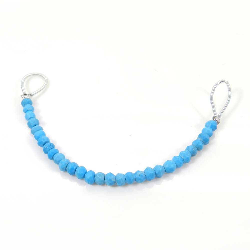 Best Deal Offer ! Synthetic Turquoise Roundel Faceted Beads 3.5mm 3.5 inch 19.55 Cts