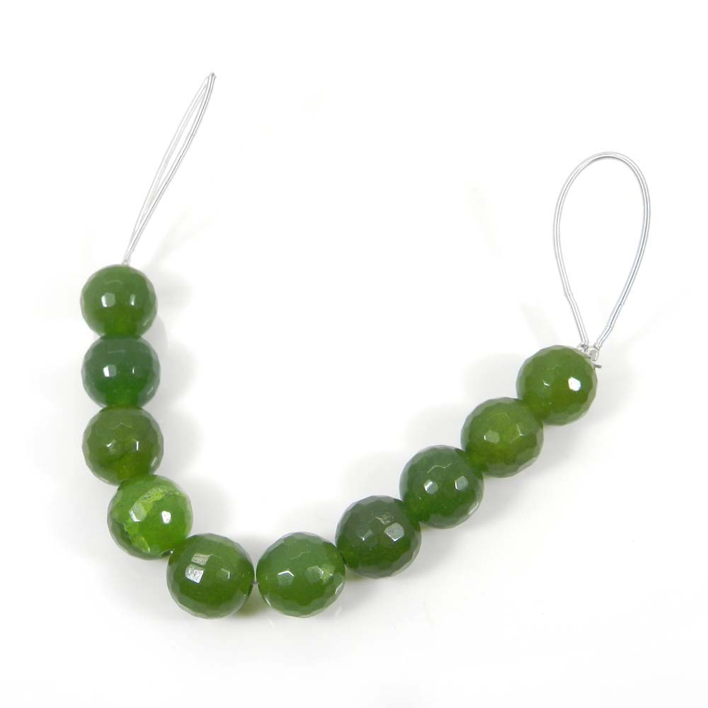 Best Offer ! 10 Pcs Natural Green Jade Faceted Beads 10mm 4 inch 69.30 cts