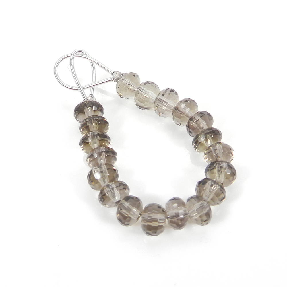 Best Offer ! 19 Pcs Smoky Quartz Roundel Faceted Beads 7mm 3.7 inch 31.70 cts