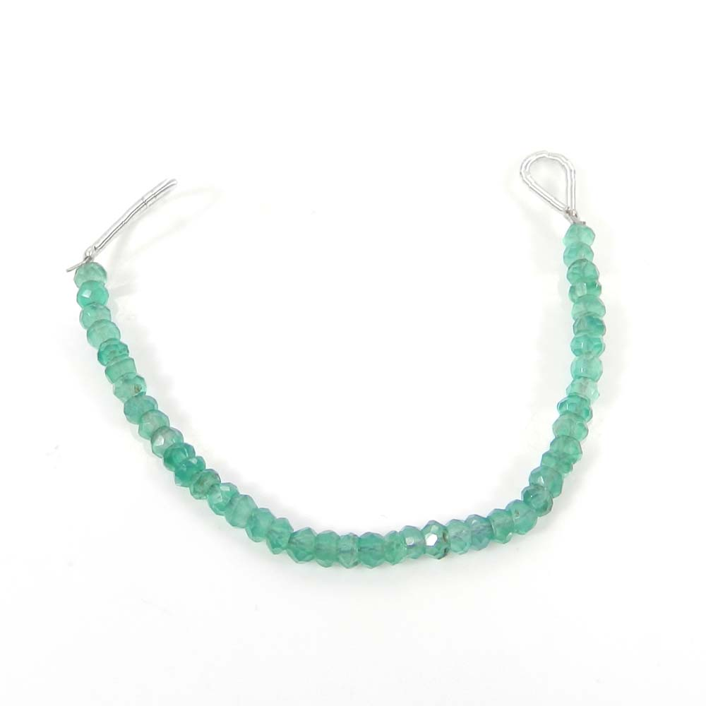 Best Offer ! Green Onyx Roundel Faceted Beads 3mm 3.8 inch 7.05 cts