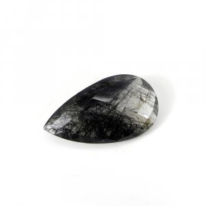 Big Black Rutile Quartz Gemstone 34x18mm Pear Checker Cut 35.65 Cts