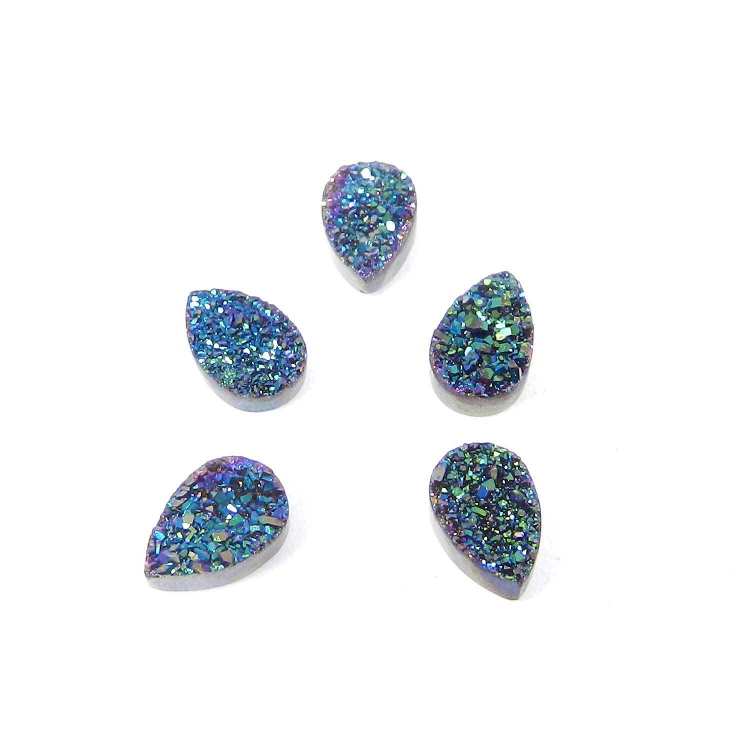 Bio Color Coated Druzy 9x6mm Pear 1.48 Cts