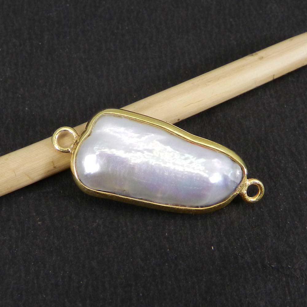 Biwa Pearl 25x10mm Fancy Silver With Gold Plated Double Loop Connector