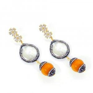 Biwa Pearl Gemstone Designer Party Wear Stud Earring