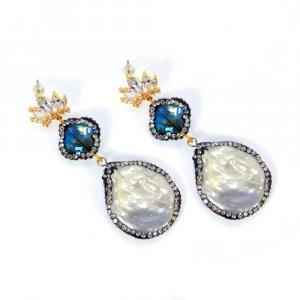 Biwa Pearl Gemstone With CZ Designer Fashion Stud Earring