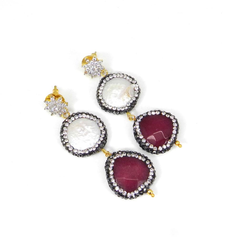 Biwa Pearl Ruby Corrundum Gold Plated Fashion jewelry Earring