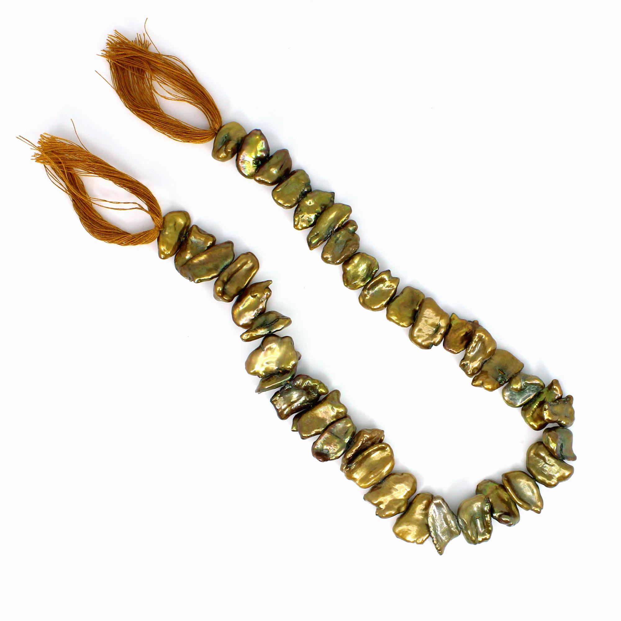 Biwa Pearl Smooth Plain Beads 12 Inch Length 32.50 Gm