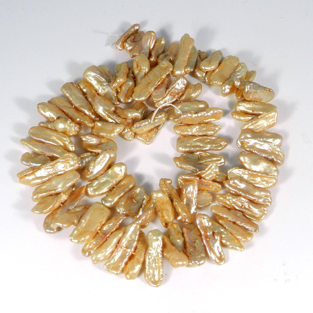 Biwa Pearl Smooth Plain Beads 16 Inch Length 207.15 Cts