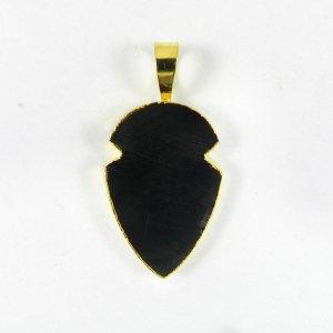 Black Agate 38mm 18k Gold Plated Bezel Pendant