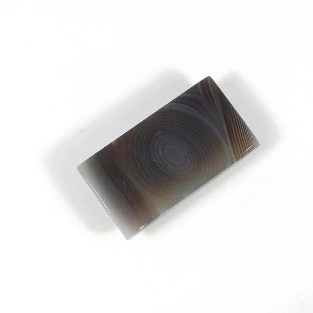 Black Banded Agate 14x13mm Rectangle Cabochon 18.4 Cts