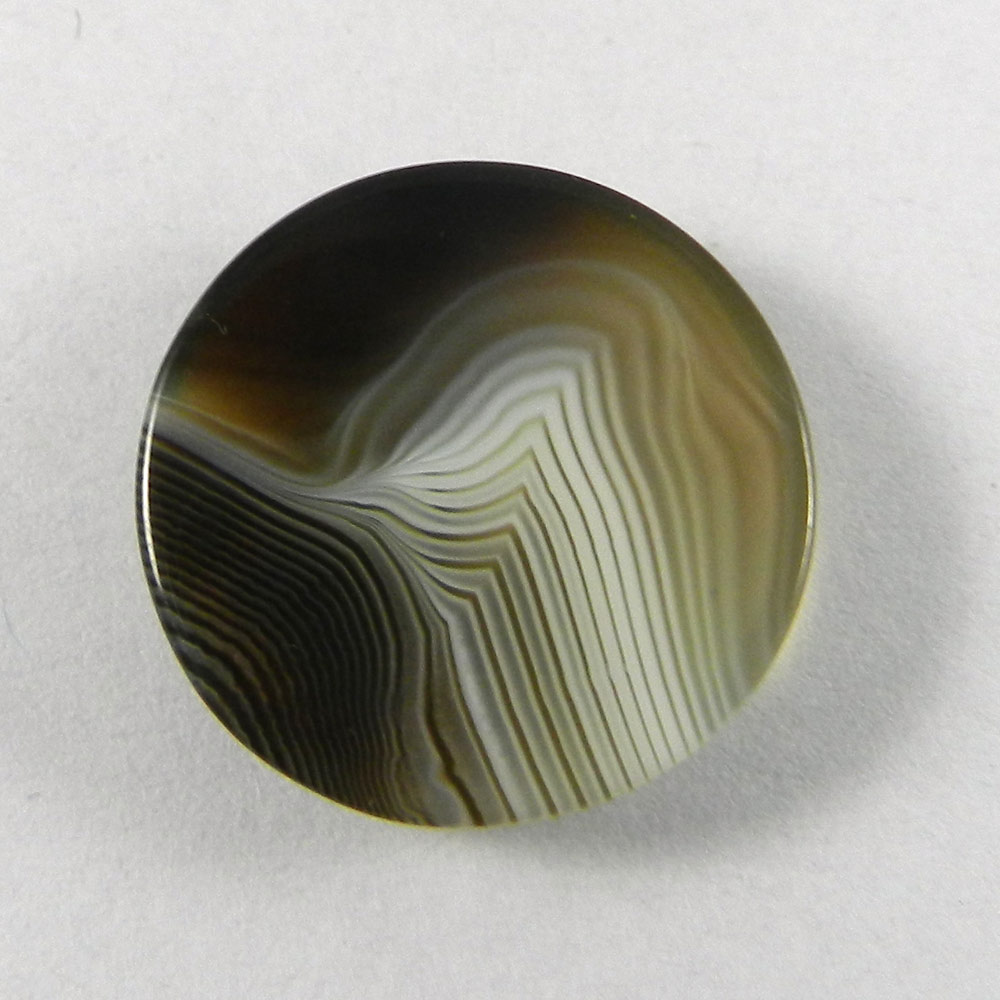 Black Banded Agate 20mm Round Cabochon 17.9 Cts