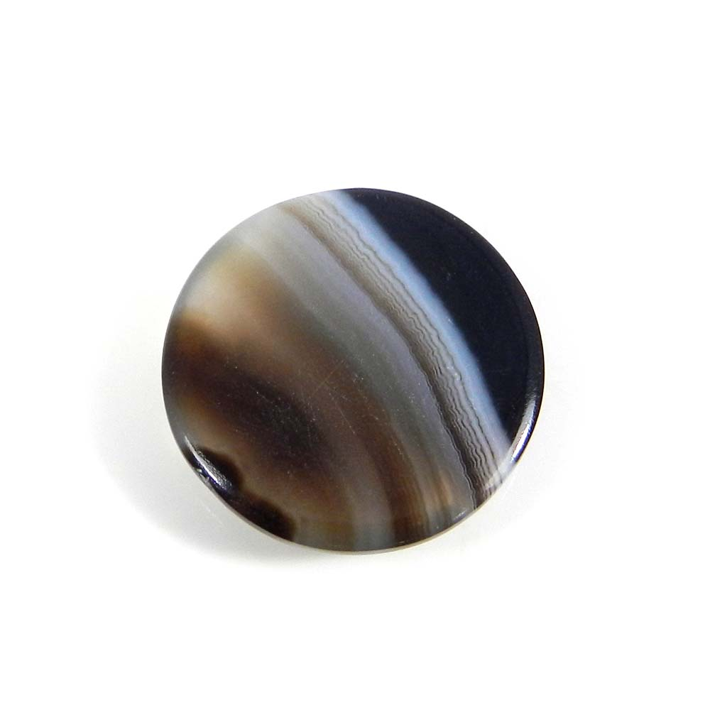 Black Banded Agate 22mm Round Cabochon 19.0 Cts