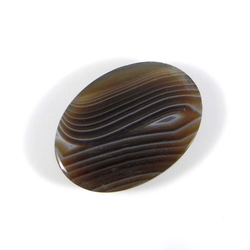 Black Banded Agate 24x18mm Oval Cabochon 17.4 Cts