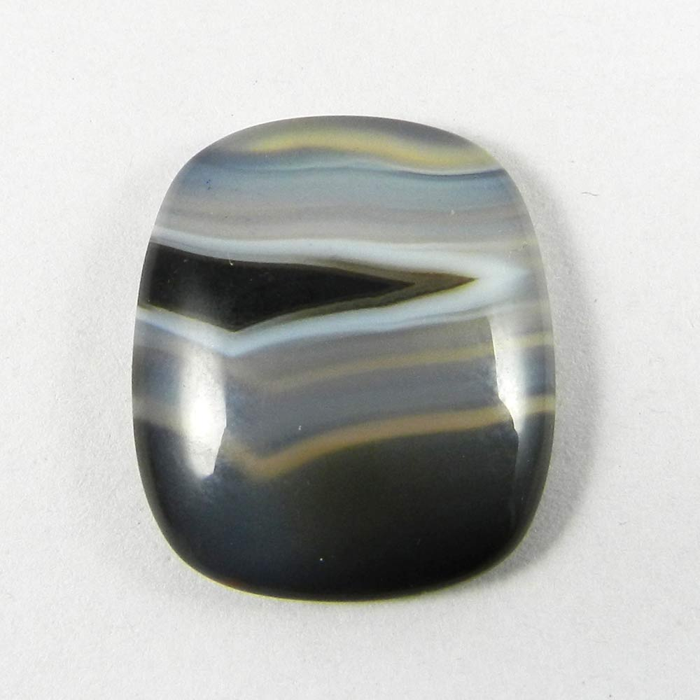 Black Banded Agate 24x21mm Cushion Cabochon 24.2 Cts