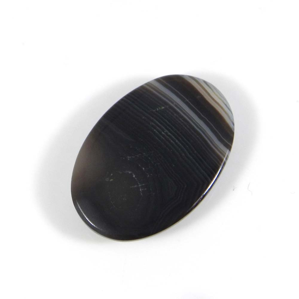Black Banded Agate 28x19mm Oval Cabochon 23.0 Cts
