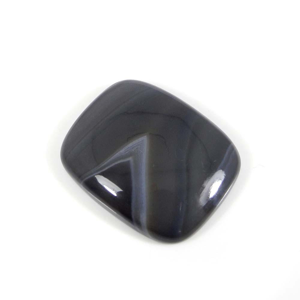 Black Banded Agate 28x22mm Cushion Cabochon 35.0 Cts