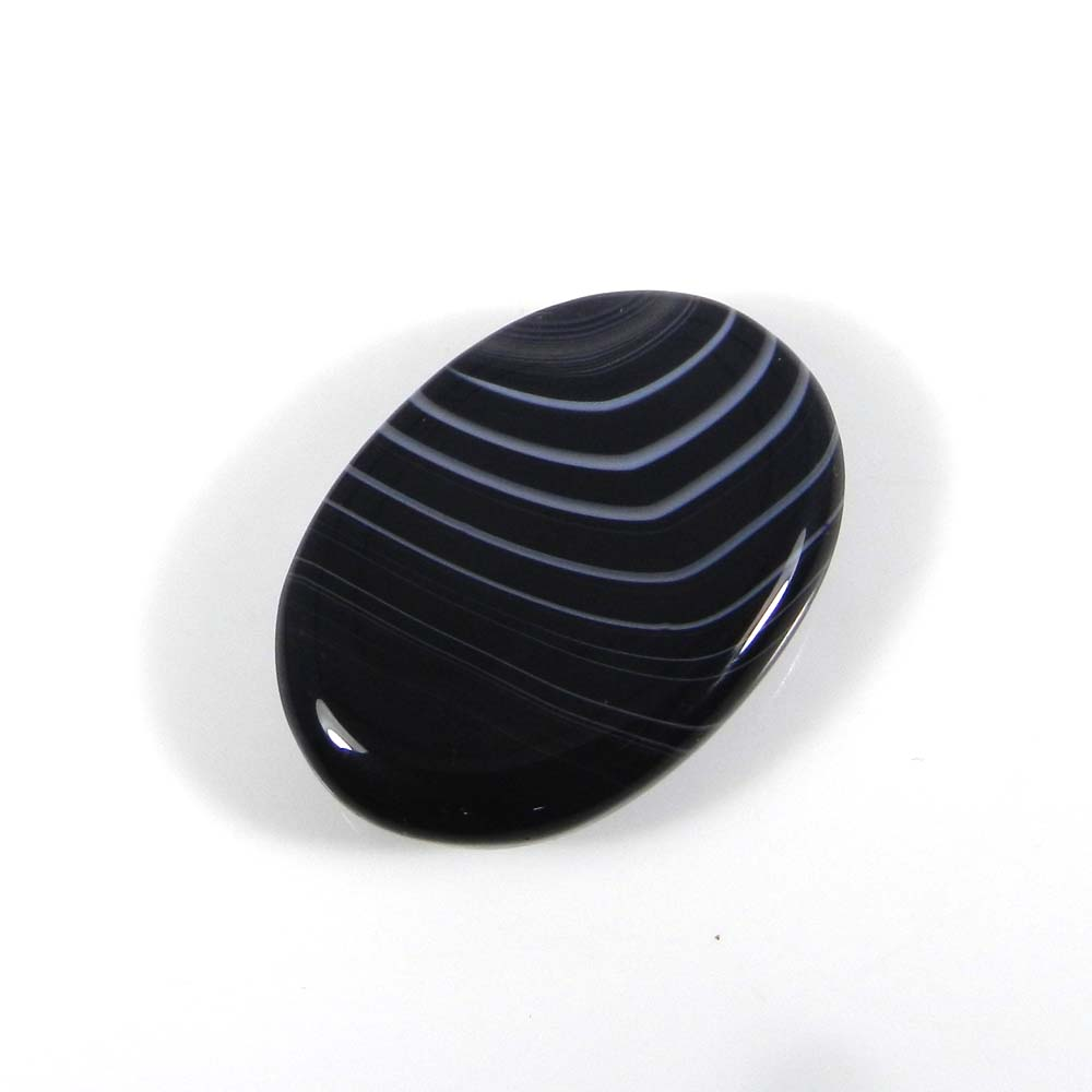 Black Banded Agate 30x11mm Oval Cabochon 44.0 Cts