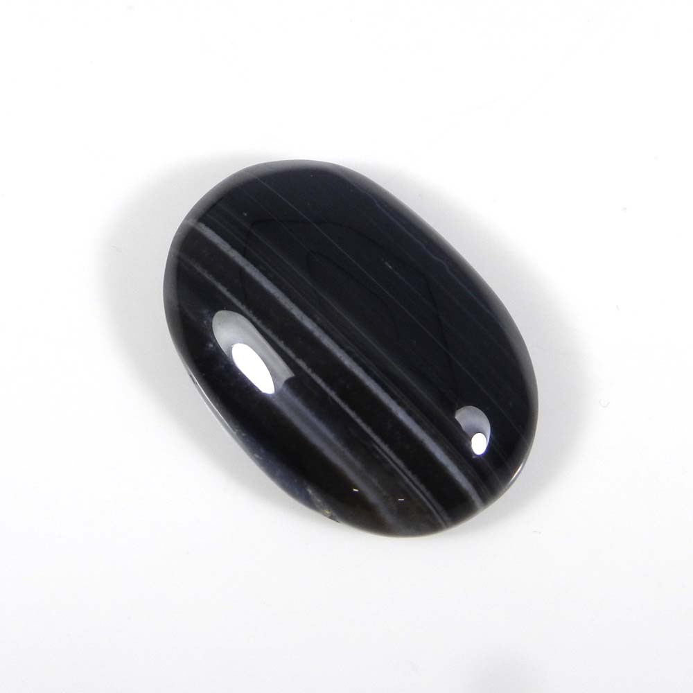 Black Banded Agate 32x22mm Oval Cabochon 52.6 Cts