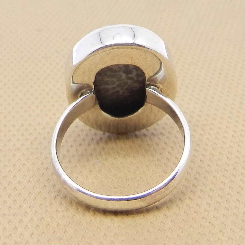 Black Coral 22x16mm Oval 925 Sterling Silver Bezel Set Ring