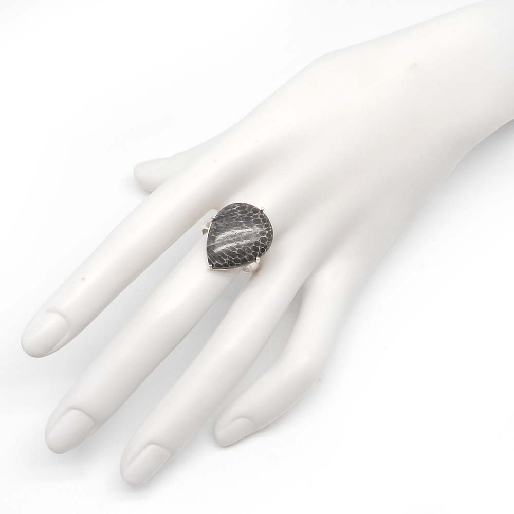 Black Coral 22x17mm Pear 925 Silver Prong Set Ring