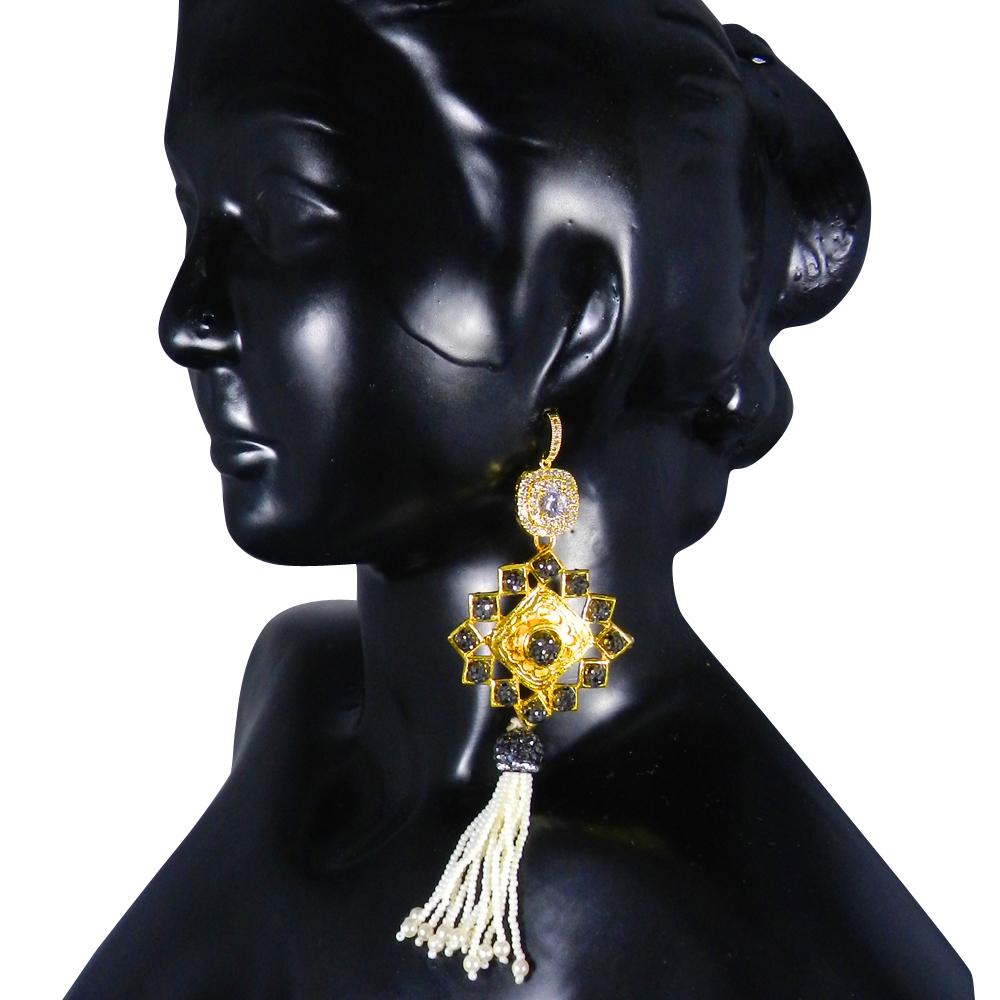 Black CZ Gemstone Designer Earring Women Jewelry