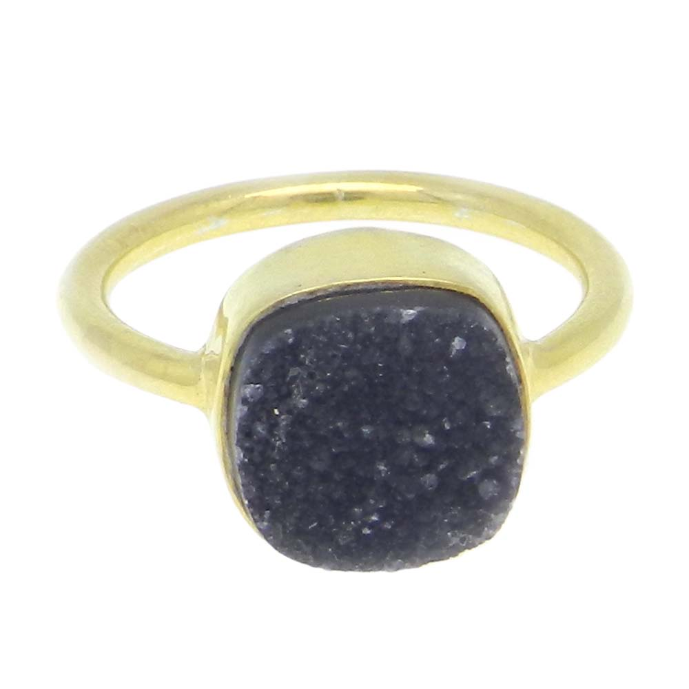 Black Druzy 11x11mm Cushion 925 Silver With Gold Plated Bezel Set Ring