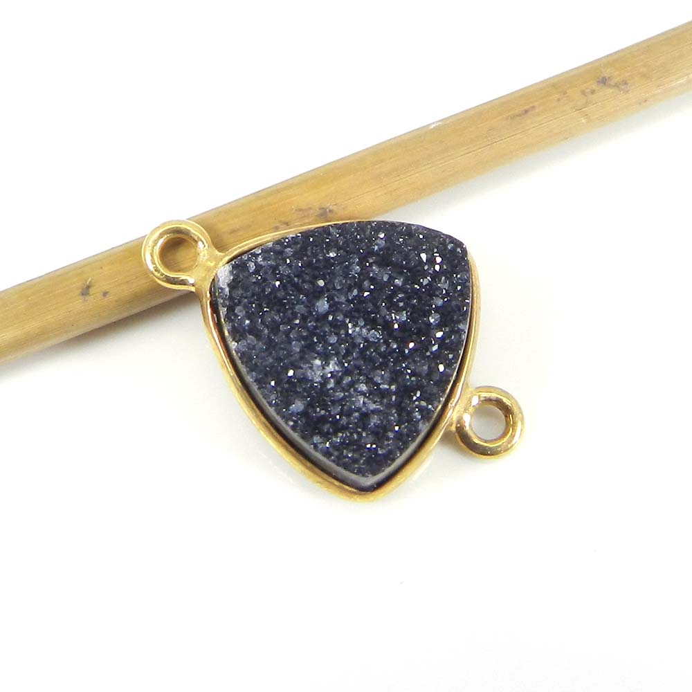 Black Druzy 19x13mm Trillian 925 Sterling Silver Gold Plated Double Loop Connector