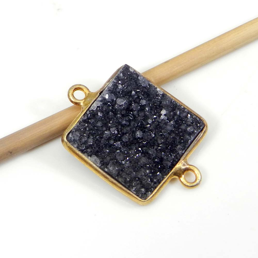 Black Druzy 23x16mm Fancy Silver With Gold Plated Double Loop Connector
